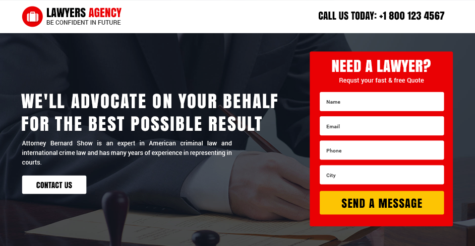 Best Lawyers Agency Landing Page Design