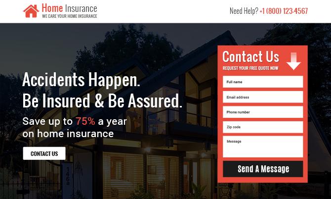 Home Insurance Service Landing Page Design