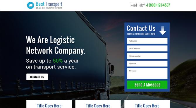 Logistic Service Landing Page Design